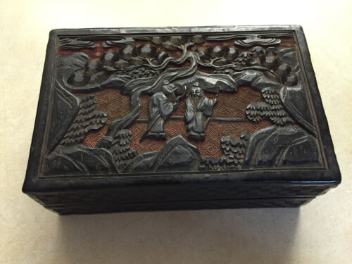 Old Chinese Carved Cinnabar Lacquer Box