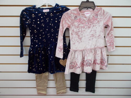 Toddler & Girls Flapdoodles 2pc Navy or Pink Velour w/ Leggings Sets Sz 2/2T-6X
