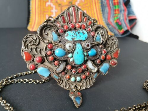 Old Tibetan Medallion Necklace with Red Coral & Turquoise on a Silver Chain...