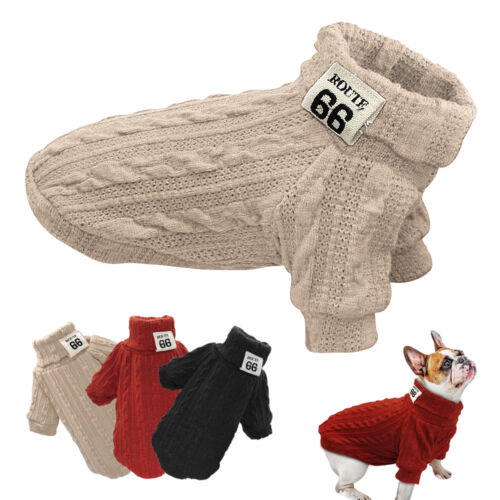 Knitted Dog Sweater Chihuahua Clothes Winter Knitwear Pet Puppy POLO Neck Jumper