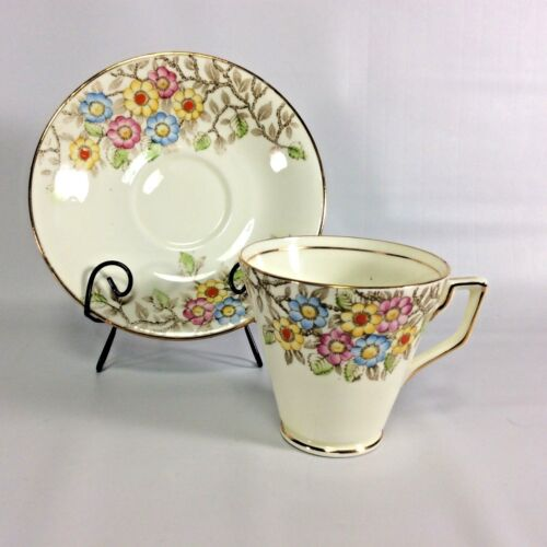 Delphine Floral Tea Cup Saucer English Bone China Made in England Art Deco