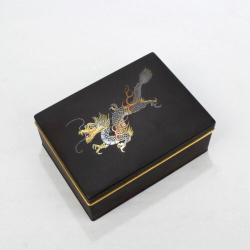 Signed Amita Japanese Shakudo Steel Box Inlaid Gold Silver & Copper Dragon - VR