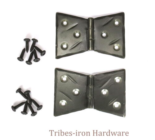 "2 Hand Forged 2"" Butt Door Hinges Cabinet Box Rustic Antique Wrought Iron Decor"