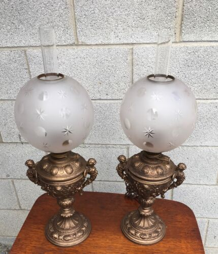 PAIR OF QUALITY VICTORIAN CHERUB FIGURE LAMPS