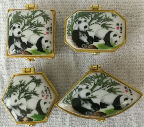 Porcelain jewelry box painted animals panda Chinese rare animals free shipping