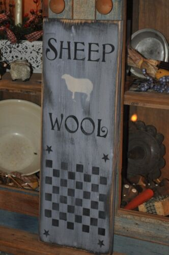 Old Blue Gray Paint Wood Sheep Wool Sign/Game Board Primitive Folk Art Decor
