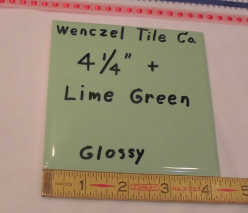 "6 pcs.  Lime Green...Glossy Ceramic Tile by Wenczel Co.…NOS…4-1/4"" plus spacing"