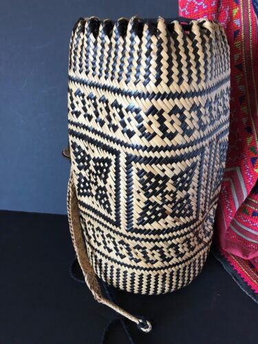 Old Borneo Woven Rattan Shoulder Bag / Back Pack …beautiful accent piece