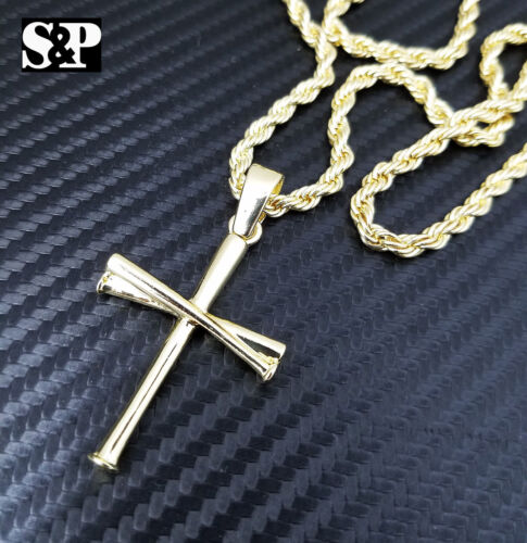 "Unisex Fashion Baseball Team Triple Bat Cross Pendant w/ 24"" Rope Chain Necklace"
