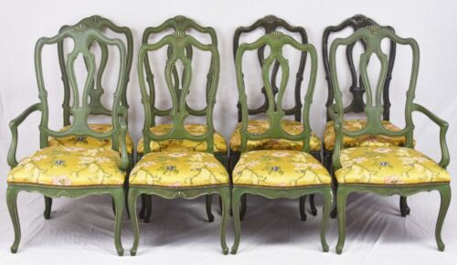 Set of Eight Baker Queen Anne Chairs SILK FABRIC Charleston Style