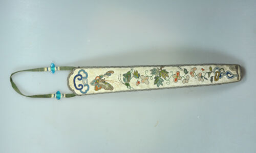ANTIQUE CHINESE CHINA QING SILK EMBROIDERY FAN CASE COVER HANDICRAFT GOLD 19C