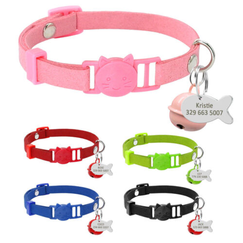 Personalized Suede Puppy Dog Kitten Cat Breakaway Collar&Tag Quick Release&Bell