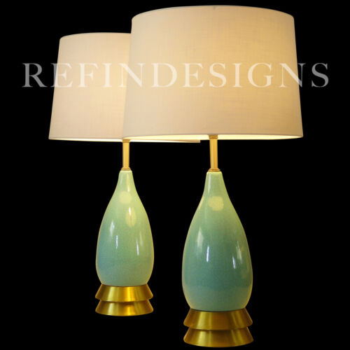 PAIR LG ATOMIC MODERN CERAMIC TURQUOISE CRACKLE GLAZE POTTERY TABLE LAMPS 1950'S