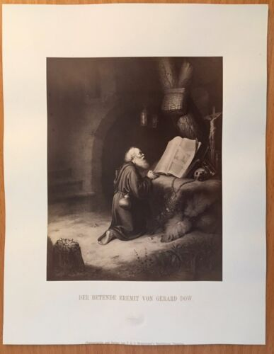 1870 PHOTOGRAPH RENAISSANCE ART GERARD DOW Gerrit Dou PRAYING HERMIT Dutch Art