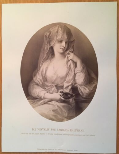 1870 PHOTOGRAPH THE VESTAL VIRGIN Angelica Kaufmann NEO-CLASSICAL Woman Artist