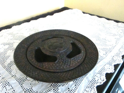 Vintage Cast Iron Chinese Incense Burner Round with Flower on Top signed