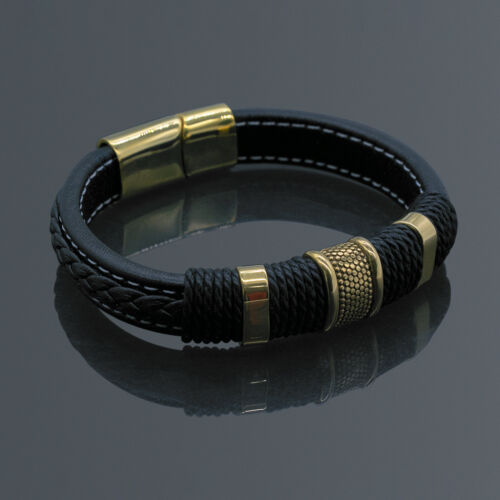 Men's Stainless Steel Leather Bracelet Magnetic Gold Clasp Bangle Cuff Black