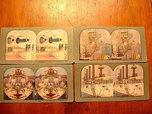 4 Antique Ingersoll Stereo View Cards of U.S. War Ships