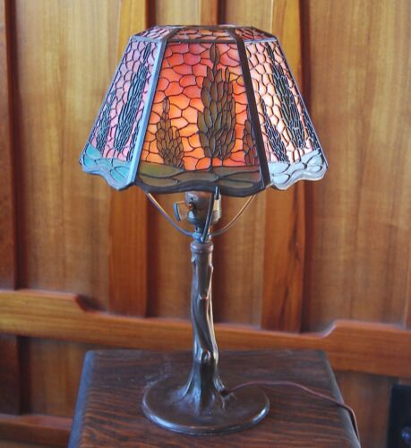 Handel open top arborvitae lamp. mission, arts and craft,lamp