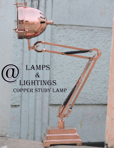 LUXURY Modernist Copper Art Deco JACQUES ADNET STYLE Table Lamp DESK Lamp Light
