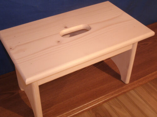 """wooden step stool  with hand hole 9""""  unfinished pine"""