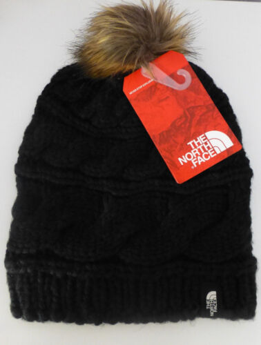 The North Face Triple Cable Four Fur Pom Pom Beanie Hat New With Tags
