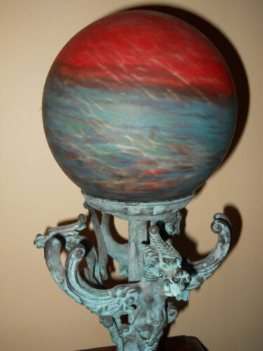 RARE ANTIQUE DECO LE VERRE FRANCAIS GLOBE SHADE LAMP WITH DRAGONS