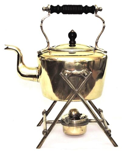 """Tea pot, Kettle on stand, Soutter, WS&S, solid brass, 13""""t, Arts & Crafts, c1890"""