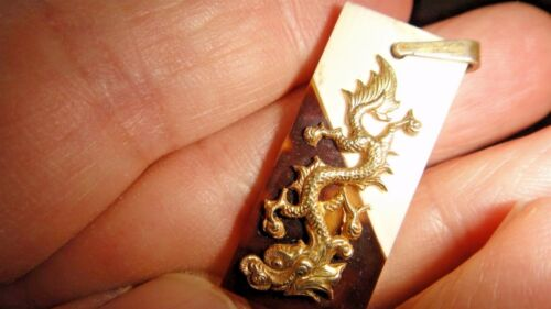 Old Chinese Gold Dragon Pendant