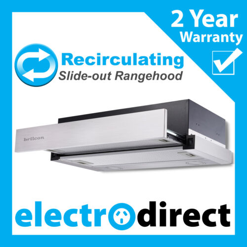 BRILCON 60cm Recirculating Slide-out Rangehood Retracting Slideout Stainless  <br/> Full 2 Year Warranty, Recirculate Range Hood with LED