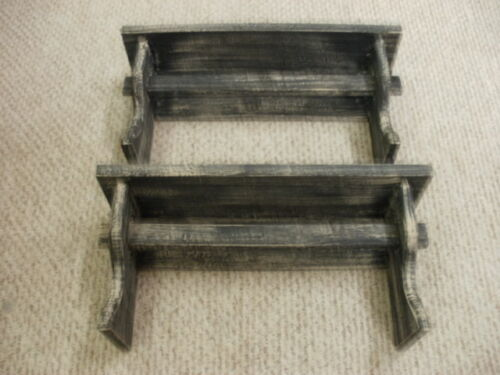 "Lot of 2 Black Weathered Looked Towel/Quilt Shelf 19"" Long Primitive (Rustic)"