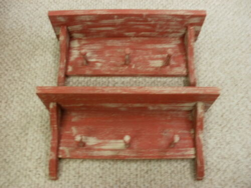 "Lot of 2 Red Weathered Looked 3 Peg Shelf 19"" Long Primitive (Rustic) Wood"
