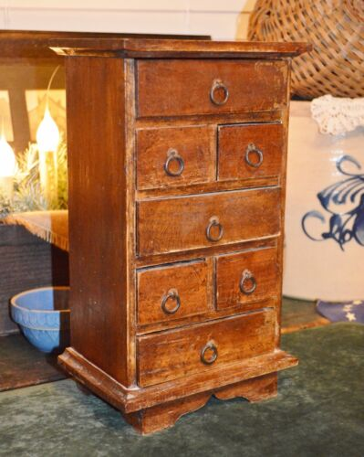 """VTG ANTQ Primitive Wood 7 Drawer Spice Tea Apothecary Counter Cabinet Box 12.75"""""""