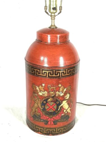 VINTAGE MID CENTURY COAT OF ARMS TOLE DECORATED GINGER JAR ASIAN LAMP