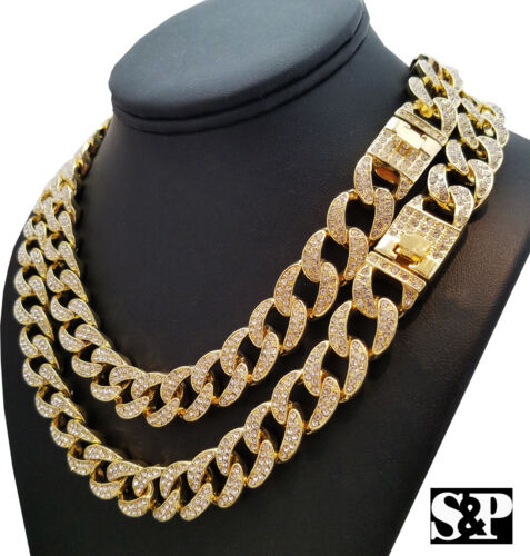 "Hip Hop Quavo Full Iced Out 16"",18"", 20"", 24"" Miami Cuban Link Choker Necklace"
