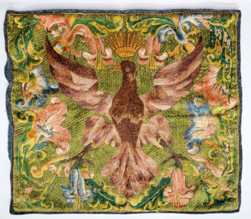 GLORIOUS ANTIQUE 18TH CENTURY POLISH EAGLE SILK TAPESTRY EMBROIDERY TEXTILE !!