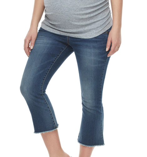 Maternity Jeans 4 Small NEW NWT a glow Crop Kick Flare Cropped Denim Pants Capri