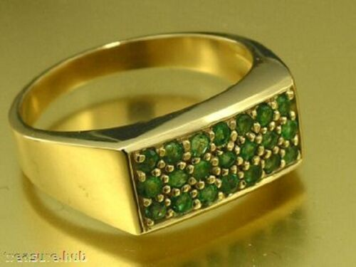 s R153 Genuine 9K Solid Yellow  GOLD NATURAL EMERALD Pave set Ring Mens size V