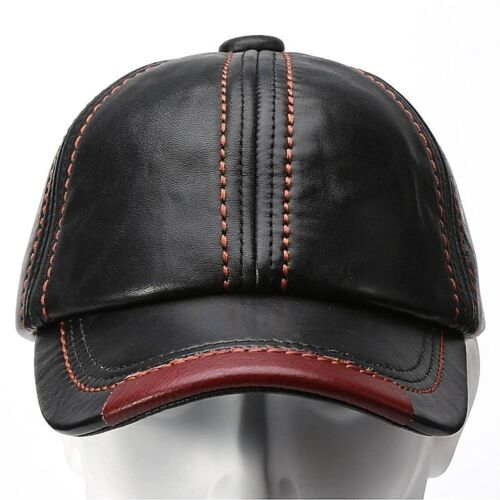Fashion Durable Genuine Leather Baseball Cap Leather Hats for Men 27299f0a836f