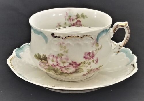 """Mustache CUP & SAUCER, porcelain, Germany, Weimar, gilt, rose,  c1900, 6"""" Rococo"""
