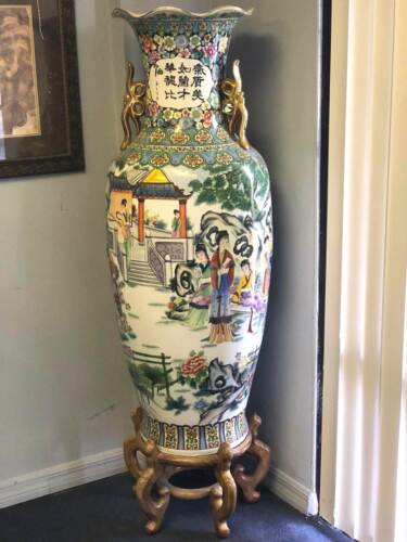 """CHINESE FLOOR VASE VERY LARGE FAMILLE ROSE GEISHA GARDEN SCENES 61"""" with BASE"""