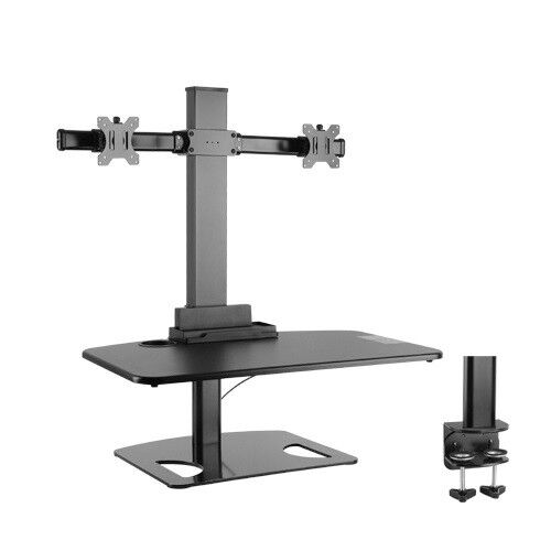 Sit and Stand workstation with 2-Arm Computer Monitor Mount DWS03-T02BK black