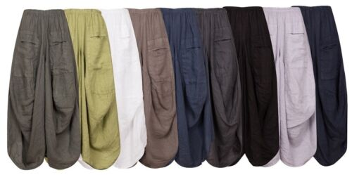 New Ladies Lagenlook Italian Boho 2 Pockets Parachute Harem Linen Trousers Pants <br/> Now back in stock in all colours for Summer 2020