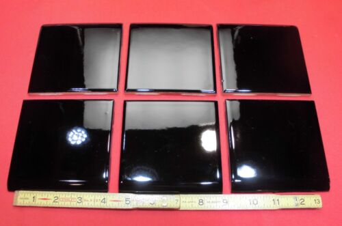 Vintage...Glossy Black...Ceramic...Bullnose Tiles...Mastic Type with nubs...NOS
