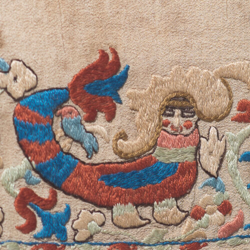 ANTIQUE GREEK ISLANDS CRETE EPIRUS EMBROIDERY WITH ELUSIVE MERMAID OR BIRD LADY
