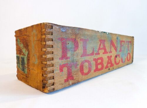 'PLANET TOBACCO' VINT FINGER-JOINED WOOD BOX W/ORIG STENCIL LOGO P. LORILLARD CO