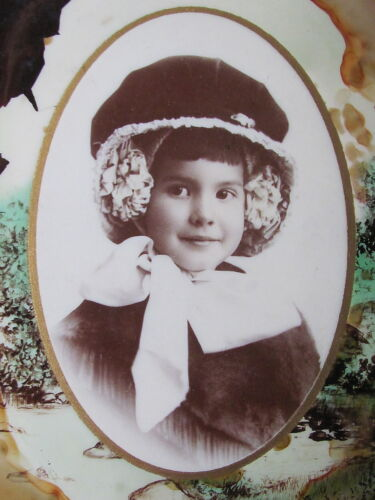 "VICTORIAN CABINET PHOTOGRAPH TIN STAND 7 1/2"" , YOUNG GIRL BIRTH MONTH JUNE"