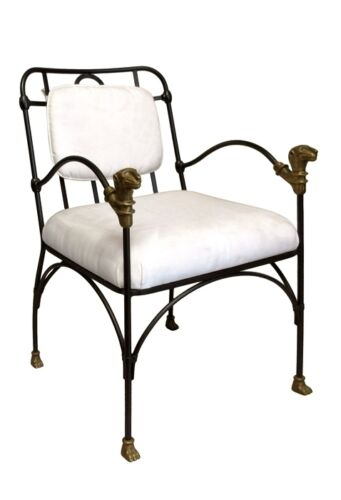 GIACOMETTI, AFTER, VINTAGE IRON AND BRONZE ARM CHAIRS , SET OF 2
