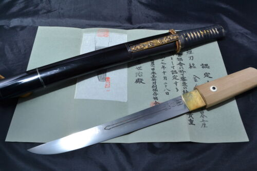 Japanese Samurai real sword Tanto sharp steel blade Koshirae kozuka by Kinju