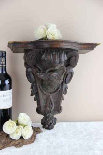 Antique German Black forest Dog wood carved Wall shelf console 19thc